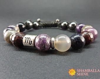 Scorpio bracelet Purple bracelet Mixed gemstone Zodiac jewelry Custom bracelet Best gift Birth gift Purple stone Scorpio October November