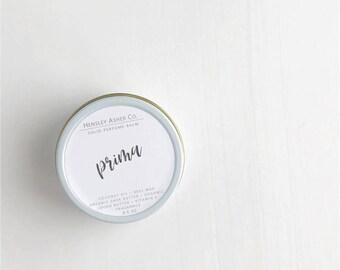Prima Solid Perfume Balm- fragrance - scent-moisturizer- coconut oil- cocoa oil- vitamin e- shea butter- beeswax-salve- Christmas gift