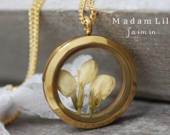 The real jasmine flower Locket Necklace (VIK-69)