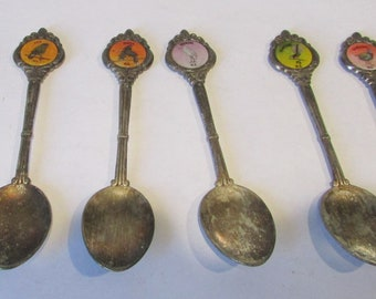 Six Vintage Collector World Spoons Birds