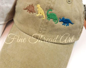 KIDS Dinosaur Baseball Cap Hat Leather Strap Dad Hat Youth Child Boy or Girl Children Dino T Rex
