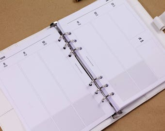 2018 weekly planner inserts, A5 planner week on two pages, vertical layout, printed inserts