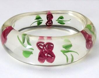 Vintage 1960s Lucite Rose Bangle Bracelet Flower Power Hippie Mod Jewelry Retro