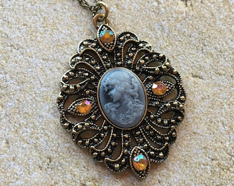 Cameo Rhinestone Pendant, Cameo, Pendant, Necklace, Gift Ideas, For Her, Statement Necklace, Romance