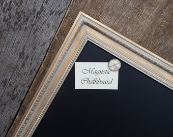 LARGE Magnetic Chalkboard 35 x 23 Gold Vintage Style Frame with White Wax - Magnetic Board - Gold Frame - Vintage Gold Chalkboard
