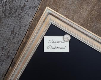 Magnetic Chalkboard Gold Vintage Style Frame with White Wax - Magnetic Board - Magnetic Chalkboard - Gold Frame - Vintage Gold Chalkboard