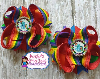 Rainbow Dash Hair Bows, Rainbow Dash Bows, Rainbow Dash Birthday, Rainbow Dash Pig Tail Set, My Little Pony Hair Bows