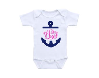 Monogrammed Baby Clothes or Gerber Onesie® Monogram Baby Onesie® Personalized Onesie® Anchor Baby Shower Nautical Baby Shower Anchor Onesie®