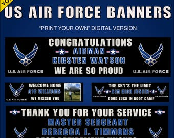 Air Force Banner - Graduation, Welcome Home, We Will Miss You - Print your own