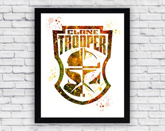 Star Wars Clone Trooper Crest watercolor Printable Wall Art, Star Wars Clone Trooper Crest wall decor, Star Wars Clone Trooper Crest poster