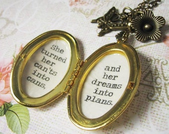 she turned her cants into cans her dreams into plans Locket  necklace inspirational  jewelry  necklace for women with quote pendant