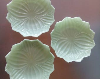 Jadeite Glass Lotus Plates by Anchor Hocking