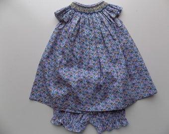 Dress liberty print, baby girl cotton dress liberty, liberty bloomer, summer dress, blue, purple, yellow, baby, smocked/bloomers smocked baby girl