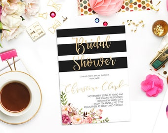 Black and White Striped Bridal Shower Invitation Floral Bridal Shower Printable Gold Invite Boho Bridal shower invite Peony Gold Glitter