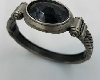 Pewter Colored Cuff Bracelet w/ Lg Acrylic Black Stone Boho Brutalist Biker Goth