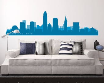 """Wall Decal CLEVELAND OHIO Skyline Wall Decal Cityscape up to 100"""" wide Art Vinyl College Dorm Office Business Decor City"""