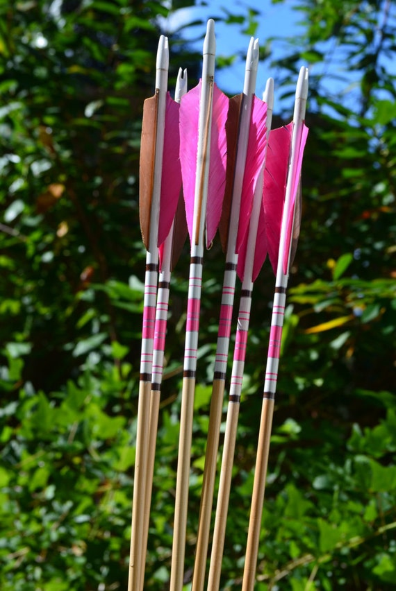 Archery arrows, wood arrows, pink and brown crested