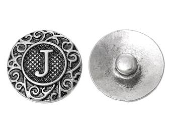 """1pc 19mm Antique Silver Alphabet /Letter """"J"""" Snap Button Charms Knob Size: 5.5mm( 2/8"""")"""