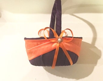 wedding flower girl basket purple and orange color custom made