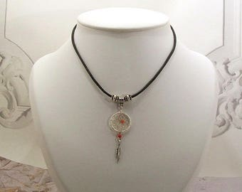 Choker leather Dream catcher or dream catcher red bead