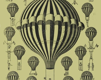 antique french air balloon illustration acrobat Karil digital download