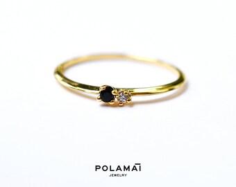 Black and White Diamond Ring . Diamond Stacking RIng . 14k Gold . Minimal Ring . Dainty Ring . Solid 14k Yellow White Gold . Polamai