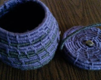 Coiled Basket with lid, lavender and gray