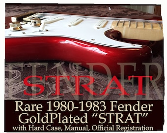 1980 Fender STRAT Stratocaster Gold Plated Hardware Electric Guitar with Hard Case, Official Registration & Manual- Ash Body Maple Neck