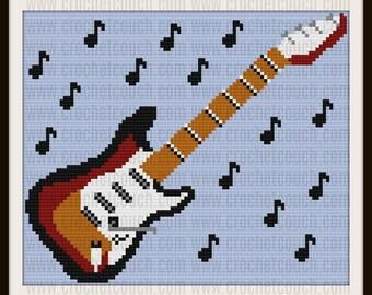 Guitar C2C Graph, Guitar 1 Afghan, Guitar Corner to Corner, Guitar Crochet Pattern