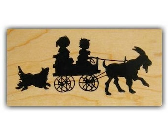 Children in Goat Cart silhouette lg. mounted rubber stamp, summer fun, barnyard animal, farm life, cabra, Sweet Grass Stamps No.1