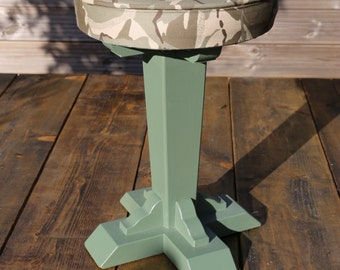 FREE SHIPPING! Vintage stool with camouflage seat