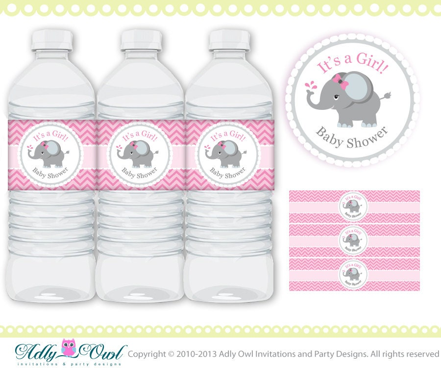 Pink Grey Girl Elephant Baby Shower Water Bottle Wrappers