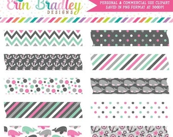 80% OFF SALE Nautical Girls Pink & Gray Digital Washi Tape Clipart Graphics Anchors Whales Polka Dots Stripes and Chevron Instant Download