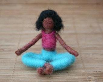Nina the Needle Felted Yoga Doll