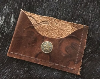 Embossed Leather Credit Card & Cash Sleeve