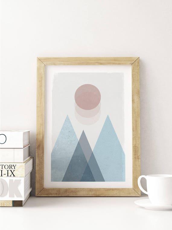 SOFT LANDSCAPE // Poster, Abstract art, 12X18, minimalist art print, geometric print, abstract, Scandinavian style, nordic design, pink