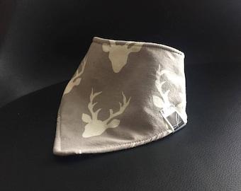 Baby bib bandana - - black and gray deer
