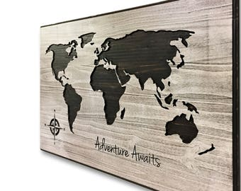 World Map with Quote, Push Pin Map, Mark Travels, Adventure Quote, Custom Map, Wood Wall Art, Personalized, Adventure Awaits, 3D Art, Carved