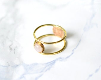 Moonstone cage ring, stone ring, thin // ECLIPSE RING