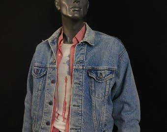 Denim Jacket Vintage Levis Trucker  Flannel Lined 1970s Denim Jacket