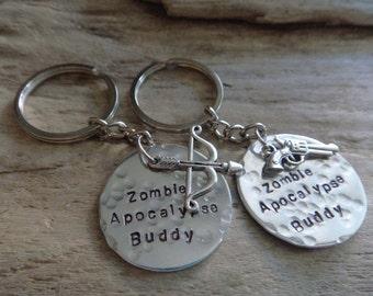 Zombie Apocalypse Buddy Keychains - Survival Funny Friend Keychain Set - Zombie Killers- Gamer Friends Custom Charms Gun and Arrow Keychain