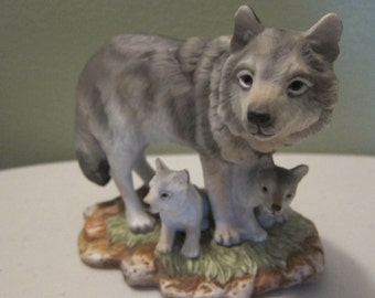 Vintage Endangered Species Grey Wolves 1995 A Masterpiece Porcelain by Homco Made in Mexico
