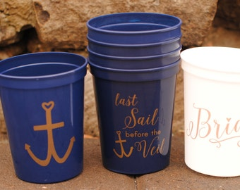 Bachelorette Party Favors - Set Sail Cup Package, Last Sail Before the Veil Bachelorette Party Cups, Nautical Bachelorette Cruise, Ideas