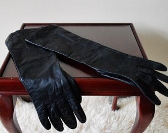 Vintage black leather gloves long lined 7.5
