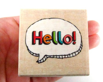 Hello Bubble Quote - Rubber Stamp - Etsy Shop, Logo, Branding, Packaging, Invitations, Party, Favors, Wedding Gifts