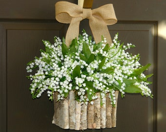 spring wreaths for front door wreaths white lily of the valley Mother's day gifts decorations birch bark vases floral container