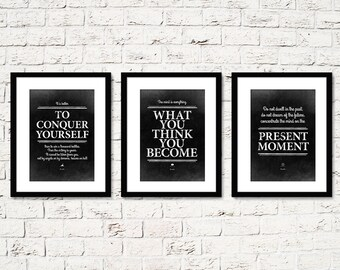 3 Buddha Quote posters. Buddhism decor. Meditation wall art. Buddha quotes prints. What you think you become. Printable meditation poster.