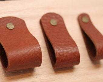 Handcrafted In USA: Tobacco All Leather Drawer / Cabinet Loop Pulls With  Hardware! 3 Sizes Wide Medium Thin