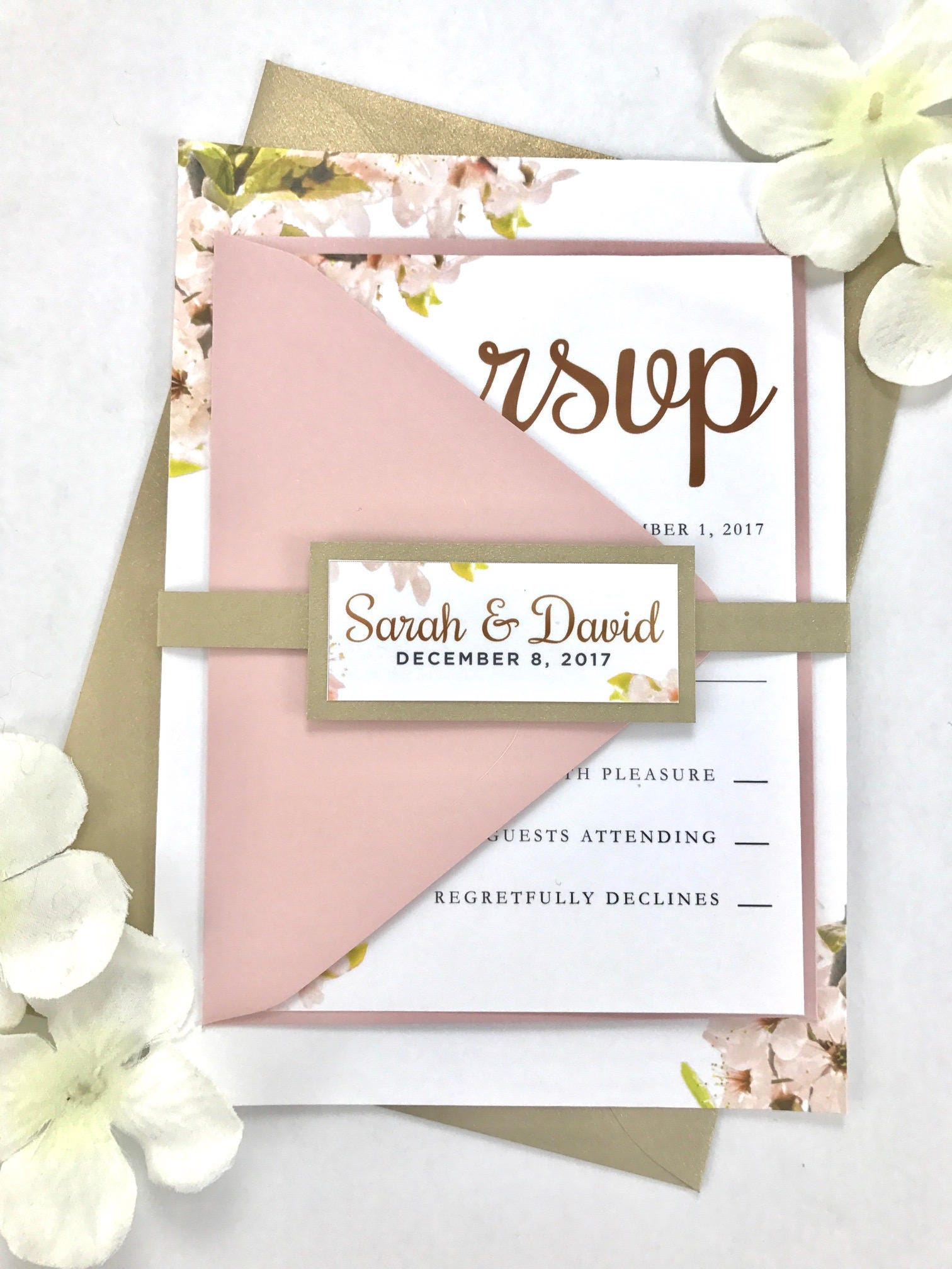 Floral Blush Pink Wedding Invitations Light Pink and Gold