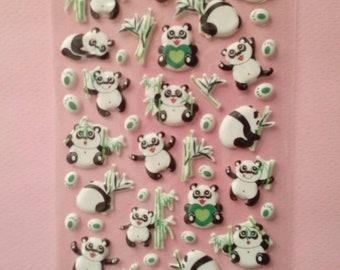 Cute panda and bamboo puffy stickers